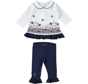 Fashion and floral two-piece outfit in cotton for baby girl BLUE