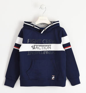 100% cotton sweatshirt with doubled hood BLUE