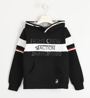100% cotton sweatshirt with doubled hood BLACK