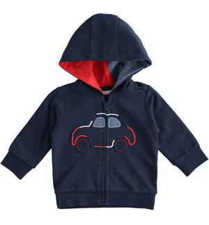 100% cotton sweatshirt with zip and car embroidery BLUE