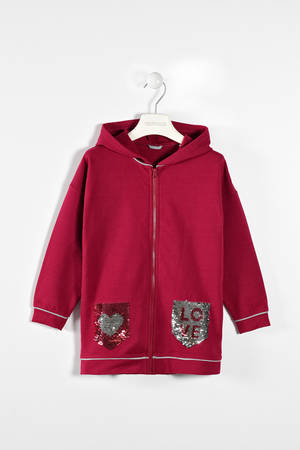 Zipped hoodie with reversible sequin pockets  RED