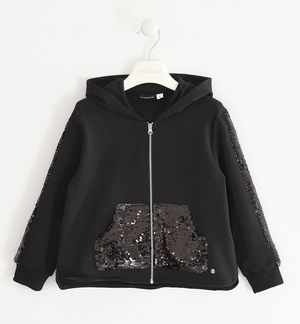Hooded sweatshirt with sequins on the pocket and sleeves