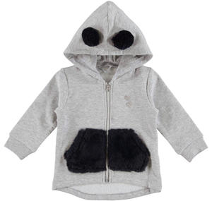 Hoodie with faux fur pompoms  GREY