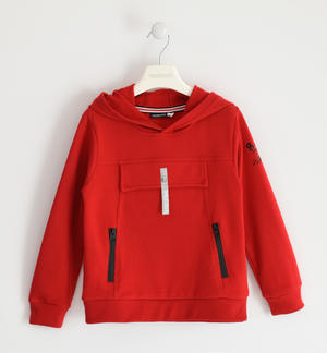 Hooded sweatshirt with fake pocket RED
