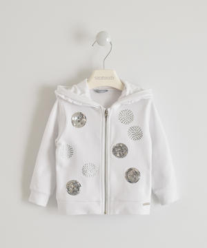 Hooded sweatshirt with sequin and rhinestone embroidery WHITE