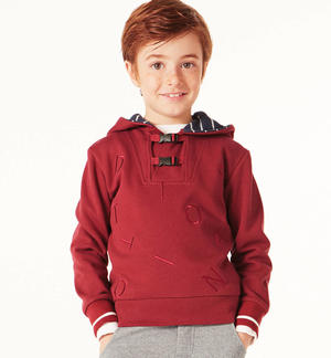 Zipped hoodie with clip openings   RED