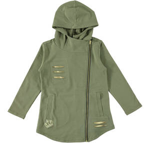 Biker-style hoodie with slits  GREEN