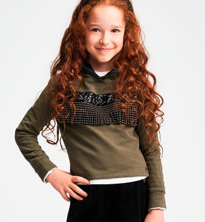 Sweatshirt with a sequined tulle band and faux leather fringes with small studs GREEN