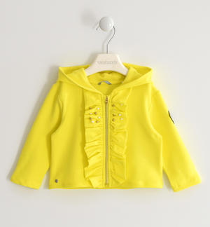 Sweatshirt with ruffles and heart of sequins YELLOW