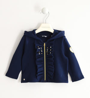 Sweatshirt with ruffles and heart of sequins BLUE
