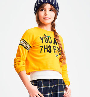 Sweatshirt characterized by a print on the front with a faux fur effect YELLOW