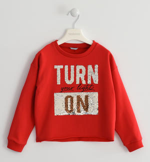 Sweatshirt characterized by a print on the front with a faux fur effect RED