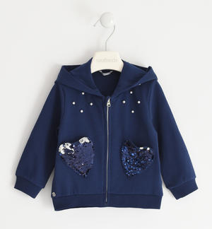 Sweatshirt with heart pockets of reversible sequins BLUE