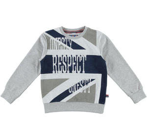 Sweater with elbow patches and two-coloured print  GREY