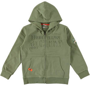 Zipped hoodie with a three-dimensional print GREEN