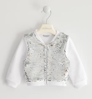 Sweatshirt with zip illuminated by sequins