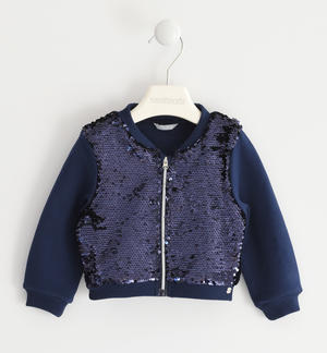 Sweatshirt with zip illuminated by sequins BLUE