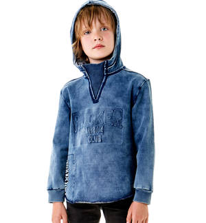 Denim-effect sweatshirt with slits and hood BLUE