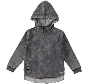 Denim-effect sweatshirt with slits and hood GREY