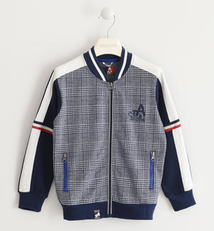 Felpa full zip con fantasia checked jacquard