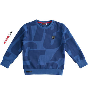 "Brushed round neck sweatshirt with ""Sarabanda interprets Ducati"" decomposed print BLUE"