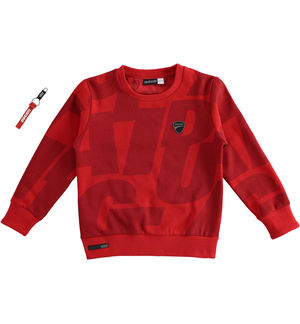 "Brushed round neck sweatshirt with ""Sarabanda interprets Ducati"" decomposed print RED"