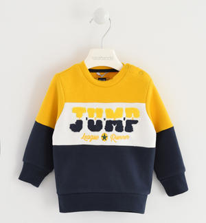 Crew neck color blocks sweatshirt YELLOW