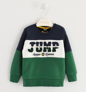 Crew neck color blocks sweatshirt GREEN