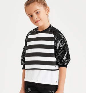 Crewneck sweatshirt with reversible sequin sleeves
