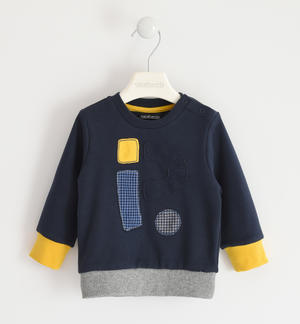 Round neck sweatshirt with application embroidery BLUE