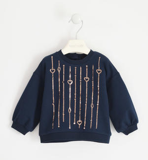 Round neck sweatshirt with sequin embroidery BLUE