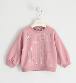 Round neck sweatshirt with sequin embroidery