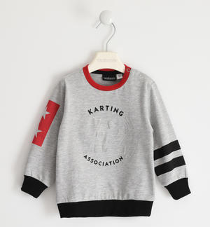 Jersey round neck sweatshirt with relief graphics