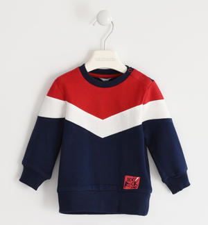 Heavy jersey crewneck sweatshirt with color blocks BLUE