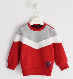 Heavy jersey crewneck sweatshirt with color blocks RED