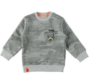 Military print crew neck sweatshirt GREY