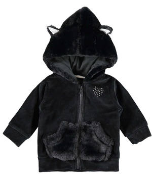 Chenille hoodie with faux fur details BLACK