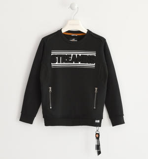 Sweatshirt with relief pattern on the front BLACK