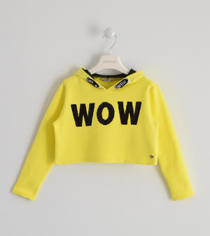 Stretch cotton girl sweatshirt short model YELLOW