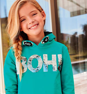 Stretch cotton girl sweatshirt short model GREEN