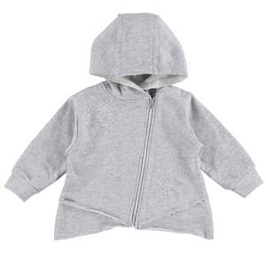 Non brushed zipped hoodie with rips and patches on the front GREY