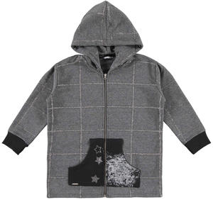 Checked hoodie with studded stars GREY