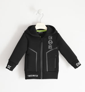 Neoprene hooded sweatshirt for boy BLACK