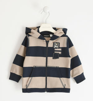 Striped sweatshirt in 100% organic cotton with BIO capsules BEIGE