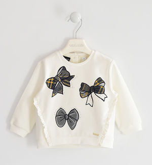 Brushed round neck sweatshirt with bows