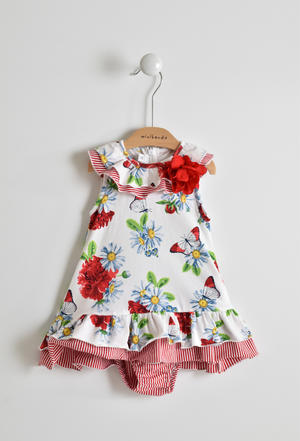 Floral, very long and comfortable baby girl sleeveless dress in cotton RED