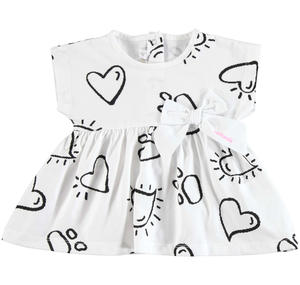 Cool sleeveless dress with hearts and paws pattern WHITE
