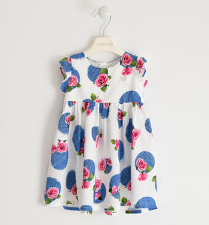 Fresh and soft viscose dress with floral print WHITE