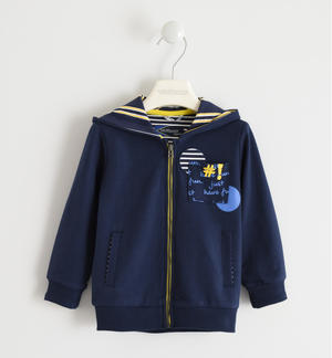 100% cotton fullzip with striped hood. BLUE