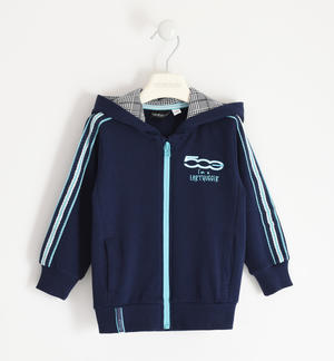 "Full zip with hood 100% organic cotton ""Sarabanda interprets 500e"" BLUE"